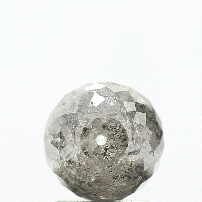 Polished Fancy Color Diamond Fancy Salt and Pepper Round Diamond Beads wt Hole 2.51 Cts Natural Diamond Round Ball/'s Cut Loose Diamond