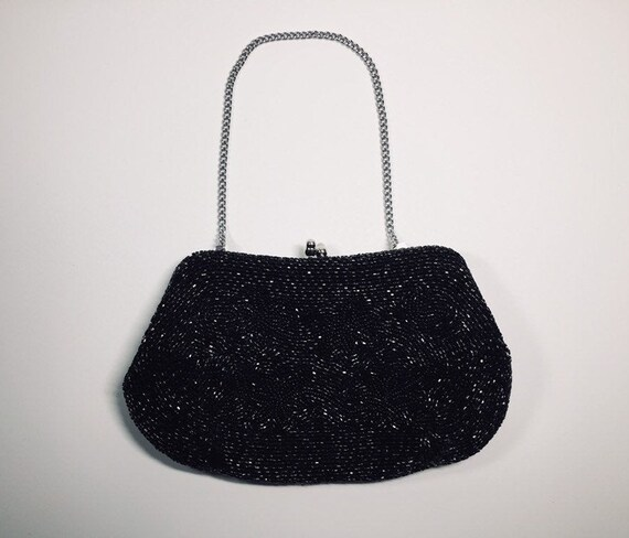 Vintage Black Beaded Clutch - Iridescent Finely Wo
