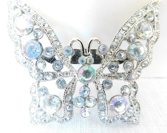 """Vintage Butterfly Brooch - Clear and Aurora Borealis Rhinestones - Silver Tone Metal - Unmarked Maker - 2"""" x 1 1/2"""" - 1970's"""