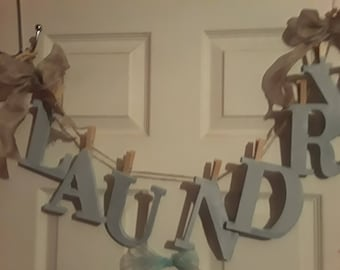 RUSTIC WOOD LAUNDRY Sign  L A U N D R Y on Clothesline