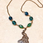 Love Never Dies - Peacock Necklace - Blue Gree and Bronze - Handmade Jewelry - Phantom-Inspired - Hand Wire Wrapped - Christine Daae