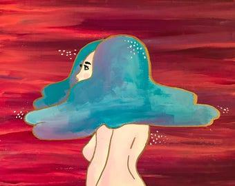 Rain Cloud Princess - Original Painting and Fine Art Print