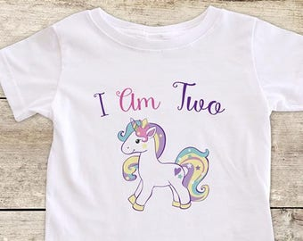 I Am Two Pretty Unicorn Design Boho
