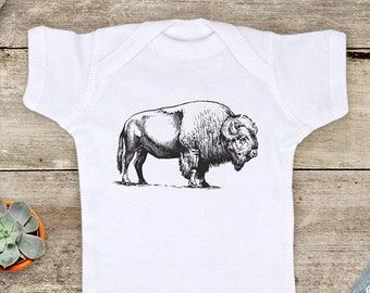 Bison Buffalo graphic Zoo animal Shirt - Baby bodysuit Toddler youth Shirt cute birthday baby shower gift