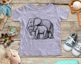 8e7a9e2fff1525 Elephant Mom and Young graphic Zoo animal Shirt - Baby bodysuit Toddler  youth Shirt cute birthday baby shower gift