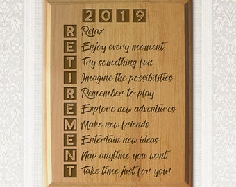 2019 Retirement Plaque Engraved Natural Wood