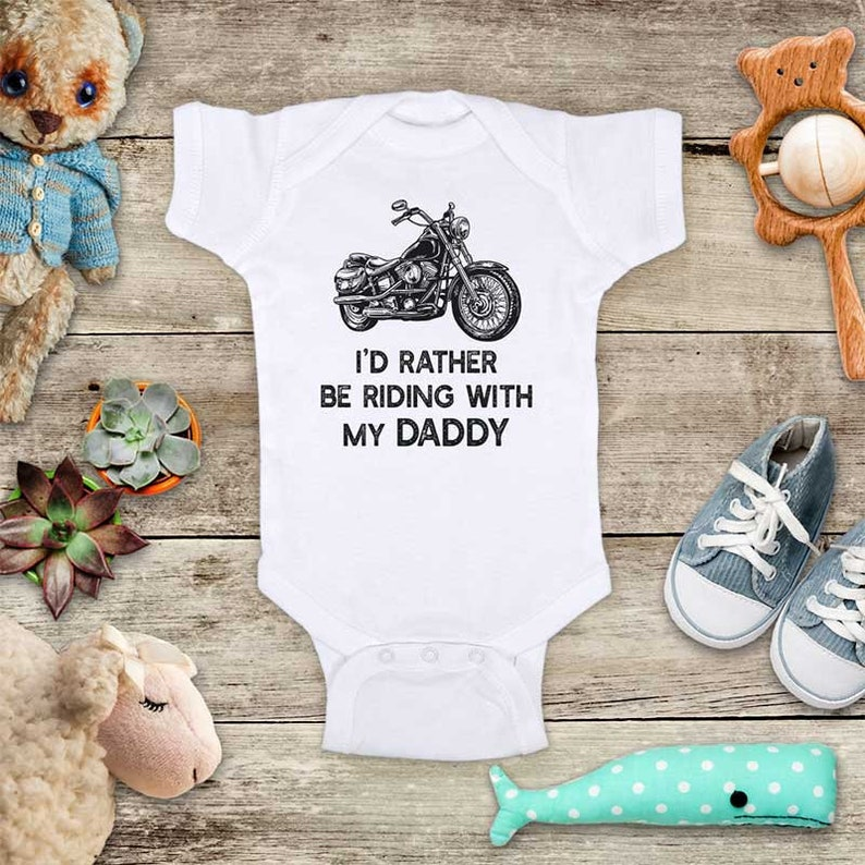 Bike Motorcycle Rather Riding Grandpa Infant Toddler Baby Bodysuit One Piece