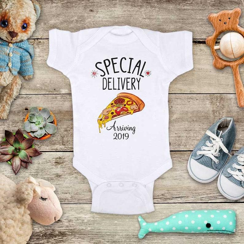 50e9e90d66aad Special Delivery Pizza Arriving 2019 or 2020 - cute baby surprise birth  announcement Baby bodysuit pregnancy parents grandparents