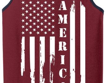 Mens Distressed American Flag Tank