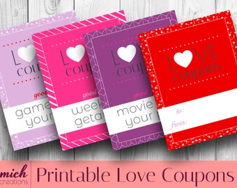 Printable Valentine's Day Coupon Book/  Love Coupons/ Coupon Book/ Classic Valentine Color Bundle