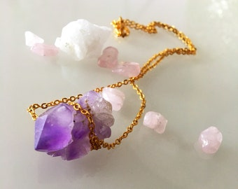Rough cut amethyst choker necklace, gold plated necklace, raw jewellery, amethyst choker, rough cut necklace, gemstone, choker jewellery