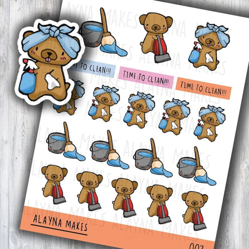 Alayna Makes Cleaning  Cleaning Planner Stickers  Planner image 0
