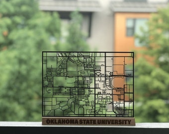 Minot State University Campus Map.Oklahoma State University Laser Cut Campus Map Framed Art Etsy