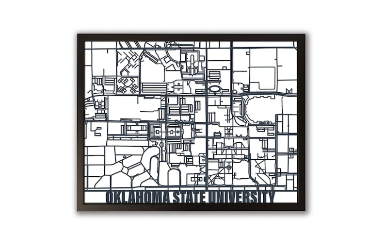 Oklahoma State University Laser-Cut Campus Map | Framed Art, OSU Decor,  Office Decor, Campus Map