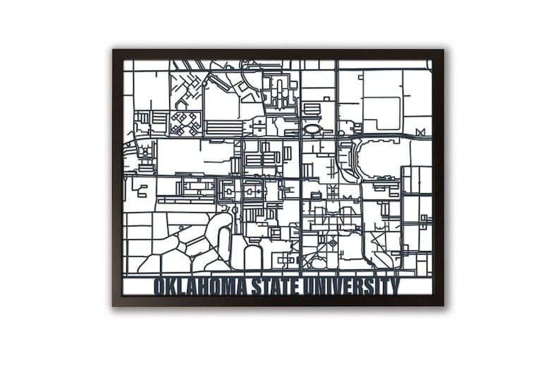 Oklahoma State University Laser Cut Campus Map Framed Art Etsy