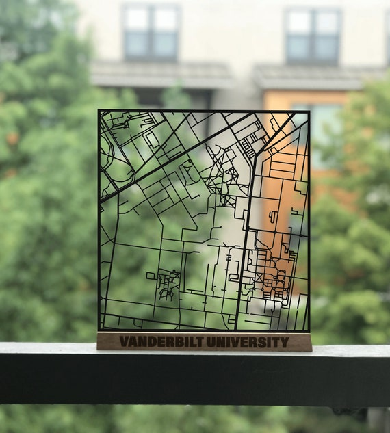 Vanderbilt University Campus Cut Map   Nashville, Commodores, Gift,  Graduation Gift, Campus, Shelf Decor, Desk Decor, Desk Art