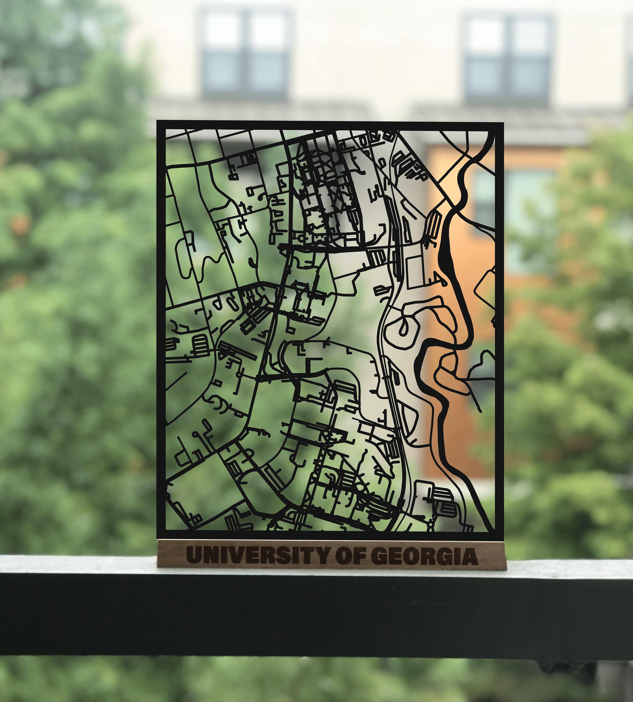 University Of Georgia Free Standing Map Laser Cut Uga Etsy