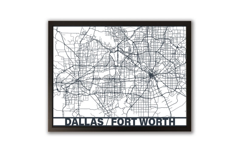 Dallas Fort Worth Map Cutout Framed Art Laser Cut Large | Etsy on