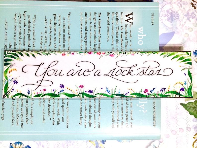 Watercolor bookmark custom bookmark You are a rockstar book image 0