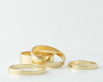 Bagues en or, bague minimale, or bague d'empilage ensemble, bagues en or pour les femmes, anneaux empilables, superposition de bagues, bague en or, bijoux délicats,
