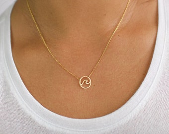 Dainty solid gold wave necklace,Yellow gold wave,Beach surf wavy jewellery,Mini gold wave,Minimalist jewelery,Precious little wave pendant