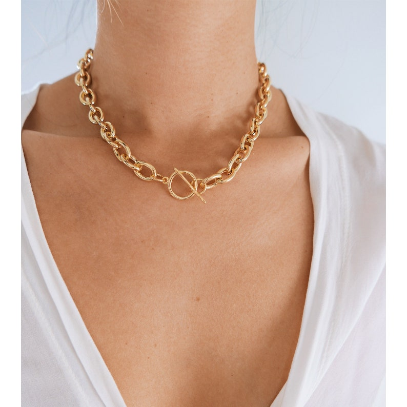Gold Necklace Thick Chain Necklace Toggle Necklace Gold image 0