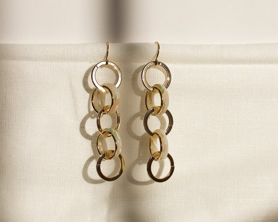 Two Tone Chain Hoop Statement Drop Earrings Dangle Earrings