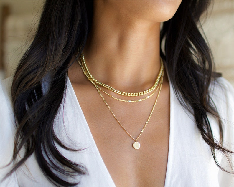 3 Layer Necklace, Layered Necklace Set, Gold Disc Necklace, Gold Necklace, Thick Gold Chain Necklace, Gold Layering Necklace