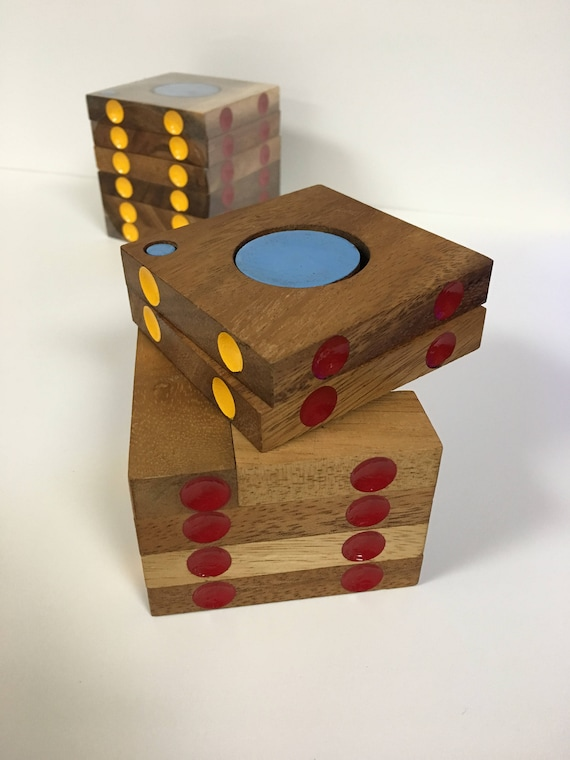 Wooden Puzzle Cubebox Fun Birthday Present Gifts Children Games Strategy Wood Blue Red Yellow