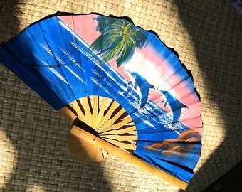 Dolphin Hand Painted Decorative Fan - 19 inches long