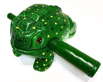 Green Musical Frog/Frog Percussion/Frog Instrument/Realistic Sound/Hand Carved Wooden Animal/Frogs gifts/Gift for kids/Unique Animal Present