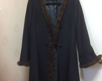 Vintage 1950s Mink & Cashmere Coat jacket/ Hairband Set
