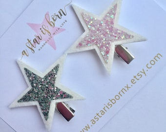 Star pigtails hair clips or fringe clips, Pink and silver chunky glitter star bows