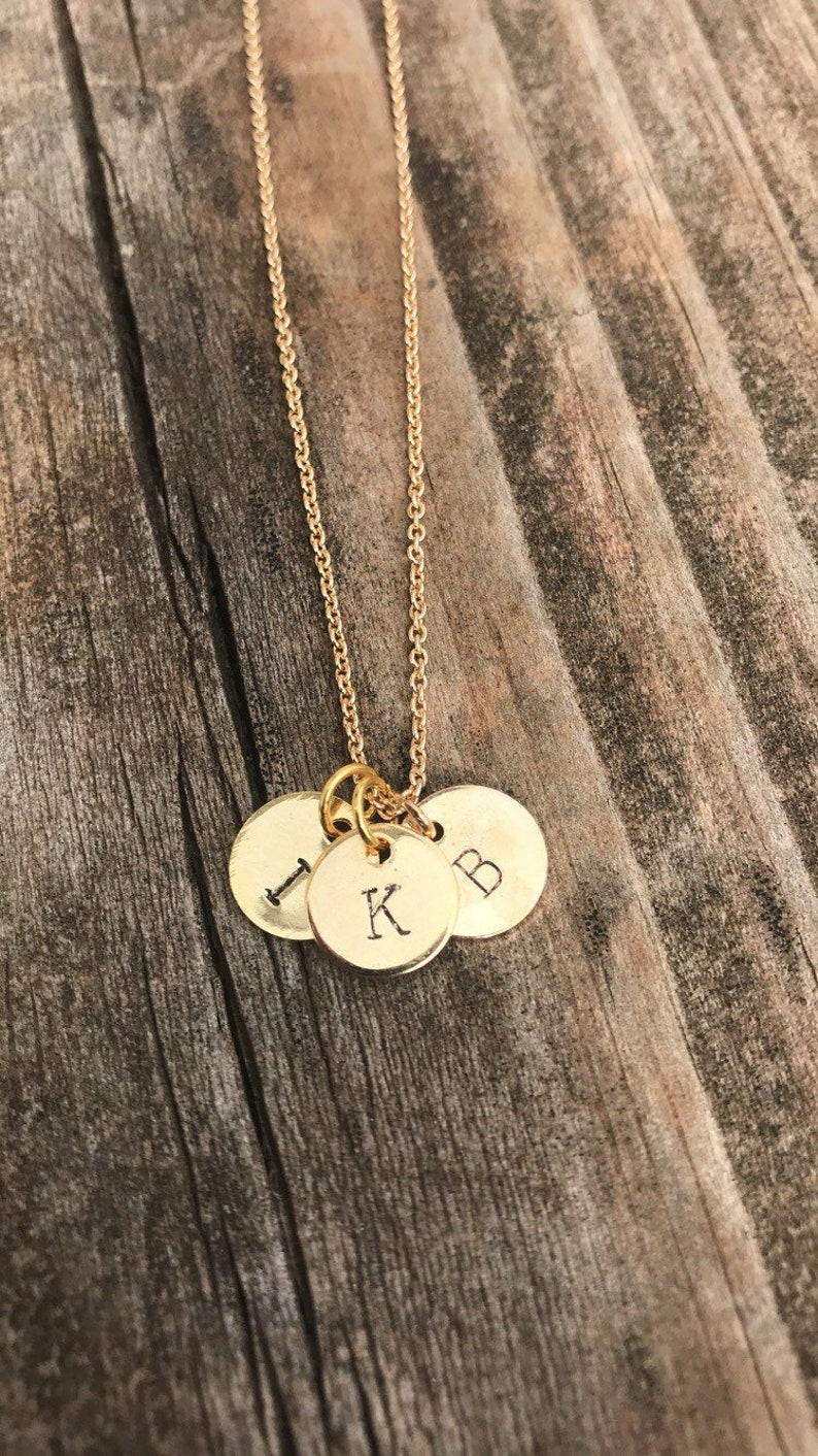 Multiple pendants initial hand stamped necklace