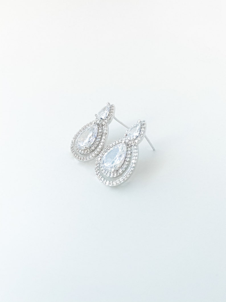 Bride Silver Cubic Zirconia Marquise and Single Level Teardrop Post Drop Earring Dangle Mother Of The Bride Bridal Earring