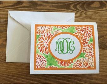 Orange Dahlia Notecards
