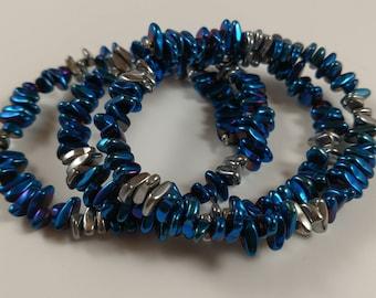 Silver & Blue Metallic Memory Wire Bracelet