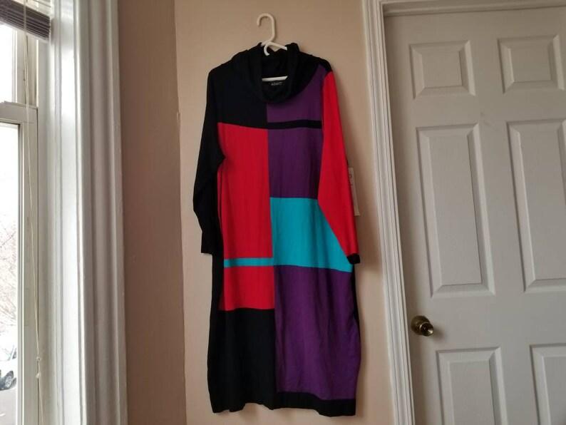 2X Geometric Pattern Colorful Long Sweater Dress, Ashro NWT