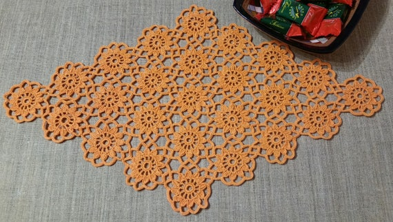 Orange Häkelblüten Deckchendiamant Deckchenhäkeln Deckchen Etsy