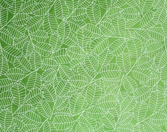 Handmade paper leaves green white gift wrapping paper