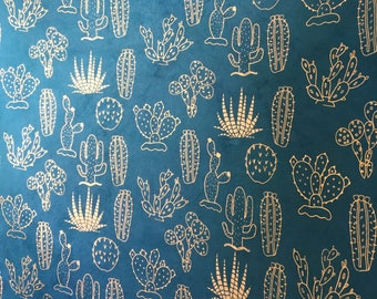 Handmade lokta paper blue with copper cactus gift wrapping paper handicraft paper book binding