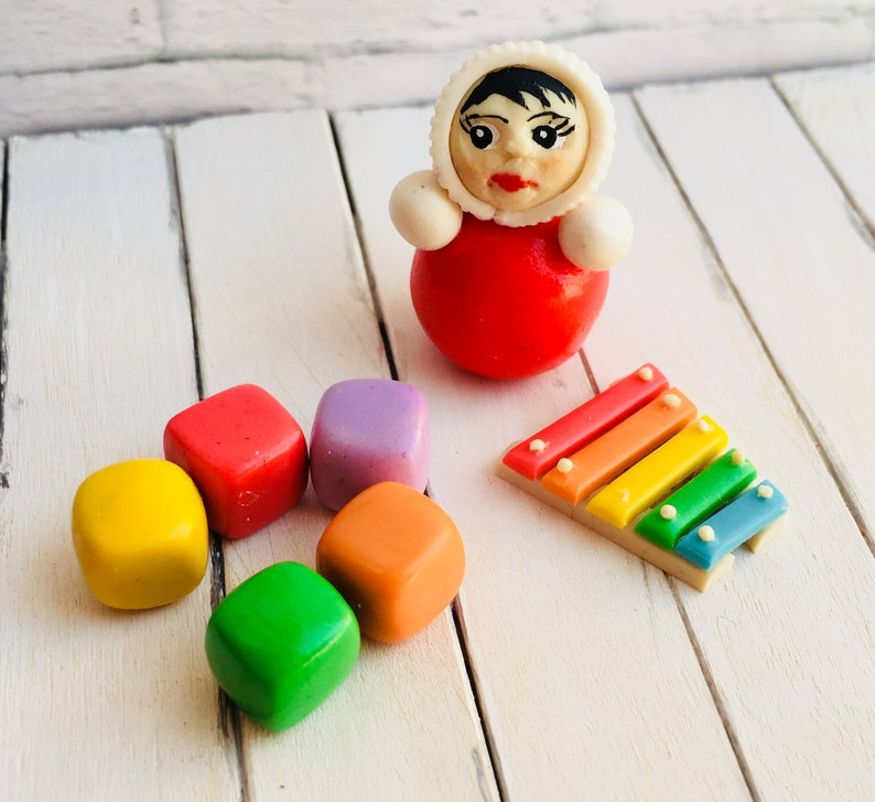 Toys for dolls made of polymer clay in scale 112 and 16