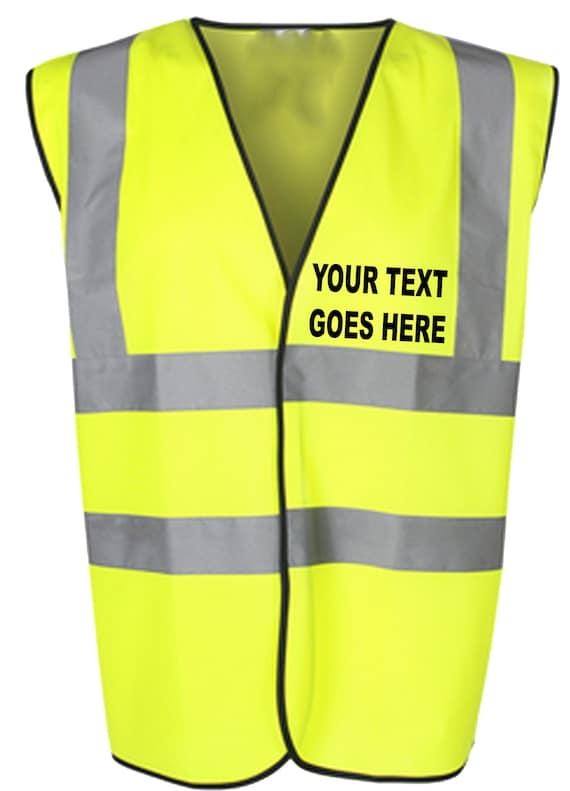 Hi Vis Yellow High Viz Childrens Vest Waistcoat Jacket Kids Child Personalised