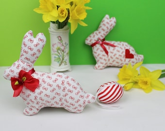 Set of 2 Easter decoration, Easter bunny set, fabric bunny, home decoration, handmade stuffed rabbit, red and white / easter gift