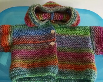 6bc055e55a94 Baby hand knit sweater with hood