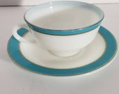 Vintage PYREX Turquoise Blue Aqua Trim 5 Sets Cups and Saucers vintage pyrex tableware teacups tea sets