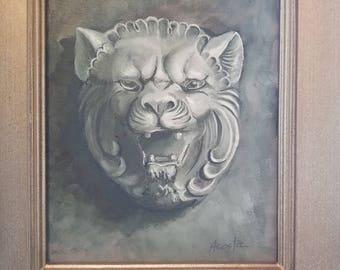 Lion head painting