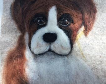 Needle felted Boxer Dog