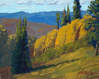 """Hillside Aspens 8x10"""" Plein Air Oil Painting"""
