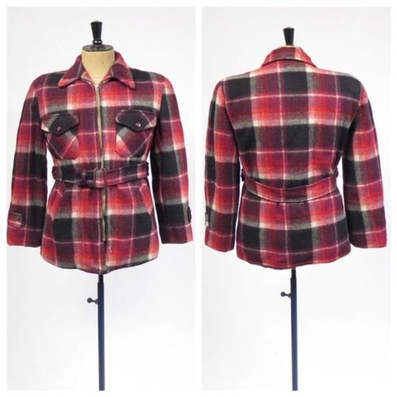 Vintage 1940-50s Craft Sportswear Red Plaid Wool Q